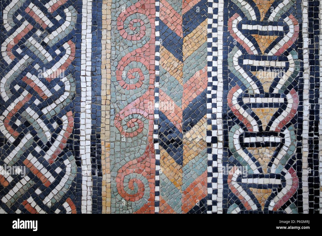 Antike Romische Mauer Mosaik Mit Quadratischen Fliesen In Weiss Grau