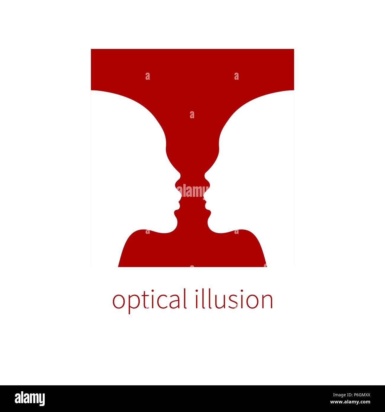 Optische illusion Vase und zwei Profile, negativen und positiven Raum, optische Täuschungen, Wahrnehmung. Vector Illustration Stockbild