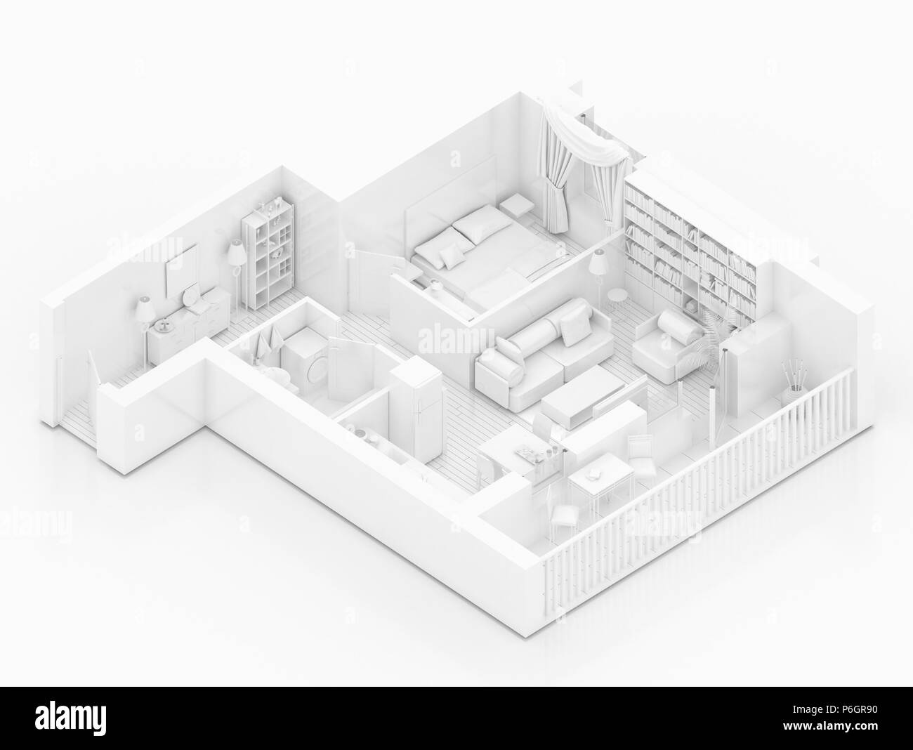 Mock up von möblierten Startseite Ferienwohnung, Papier Modell Stockbild