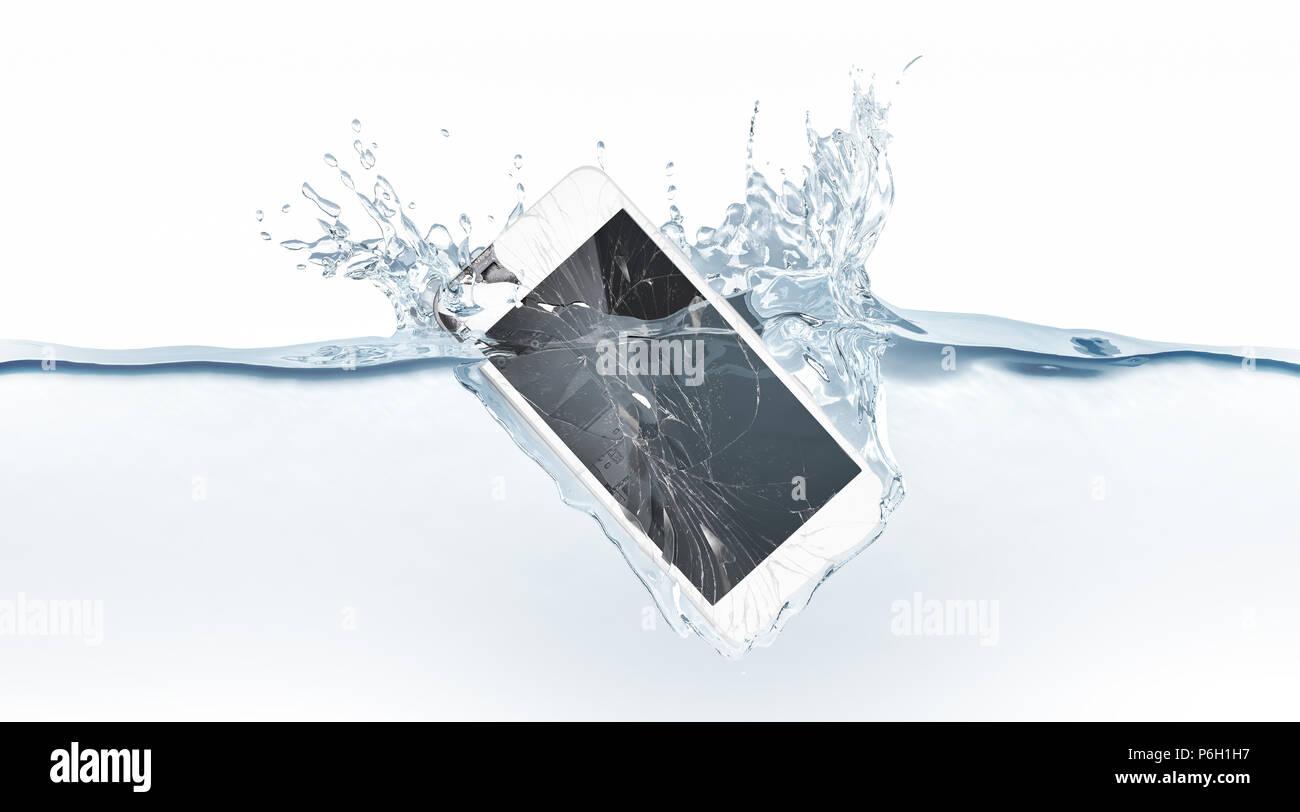 gebrochenes weiß smartphone mock up waschbecken in wasser, 3d