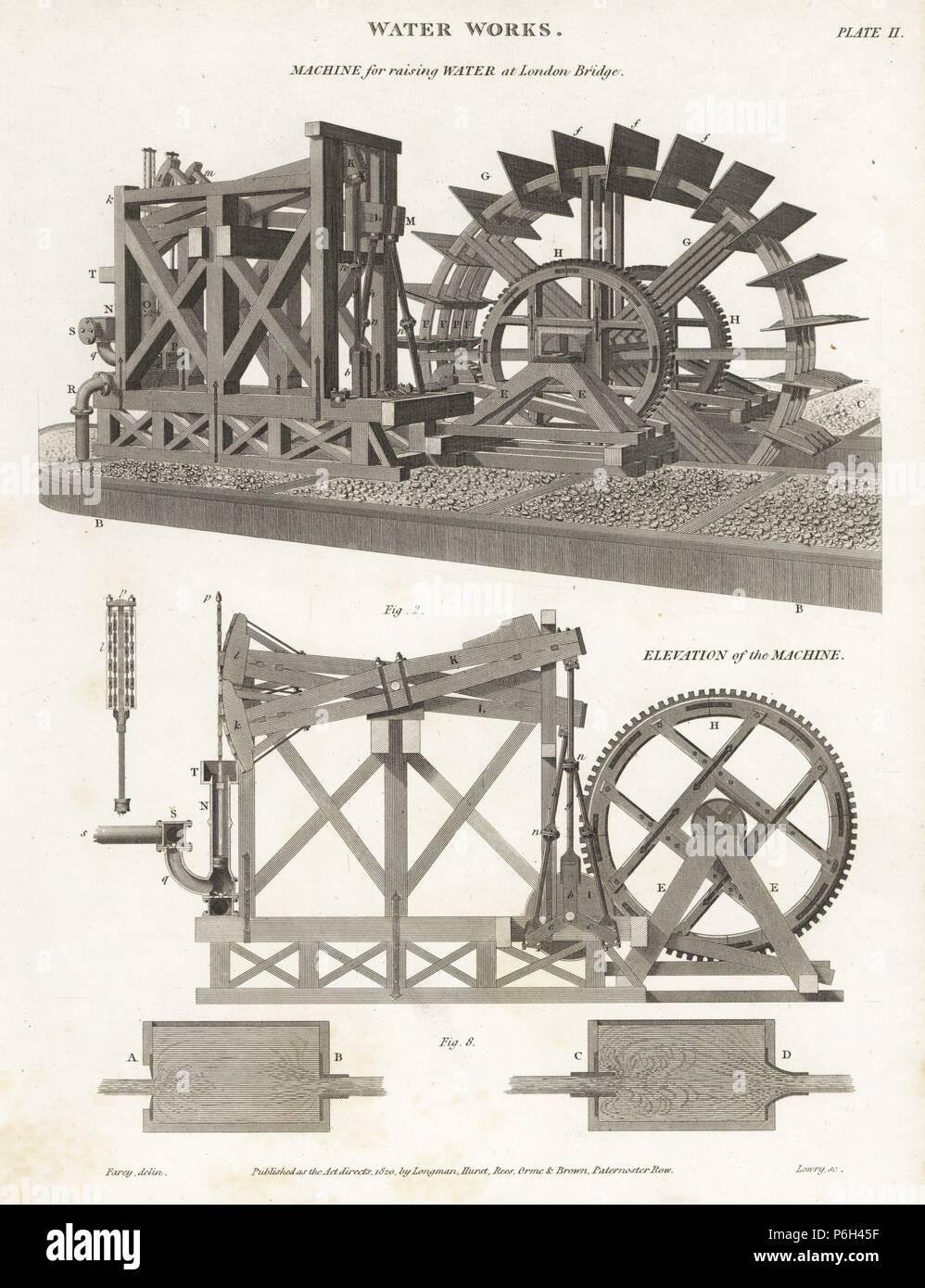 """Maschine für das Wasser im London Bridge, 19. Kupferstich von W. Lowry nach einer Illustration von J. Farey von Abraham Rees'' Cyclopedia oder Universal Wörterbuch"""", London, 1817. Stockbild"""