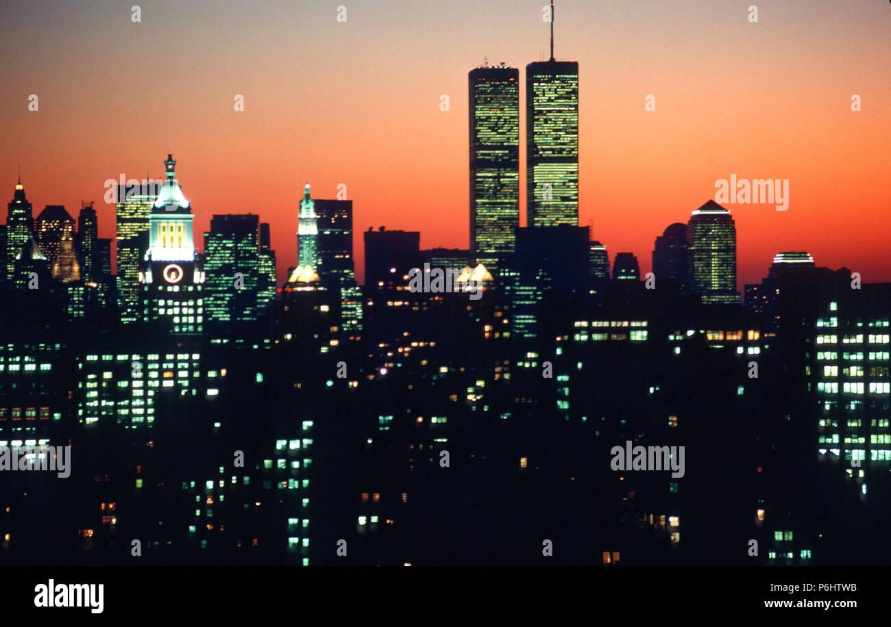 Vintage Bild Skyline Von New York City Die Die Twin Towers