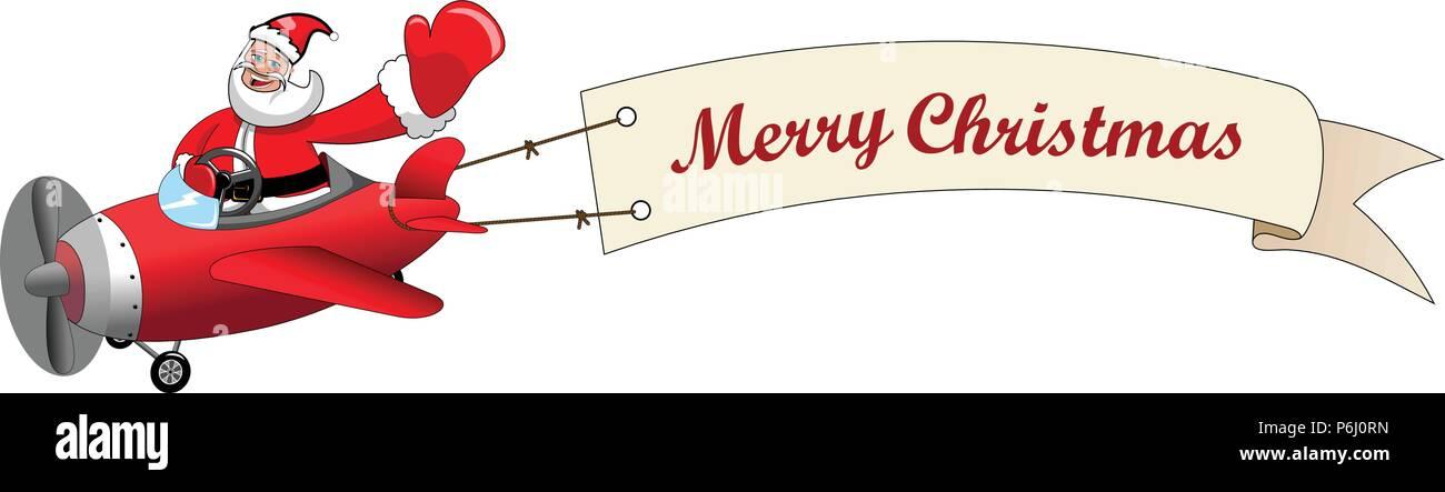 Frohe Weihnachten Flugzeug.Weihnachtsmann Cartoon Zu Fliegenden Flugzeug Mit Frohe