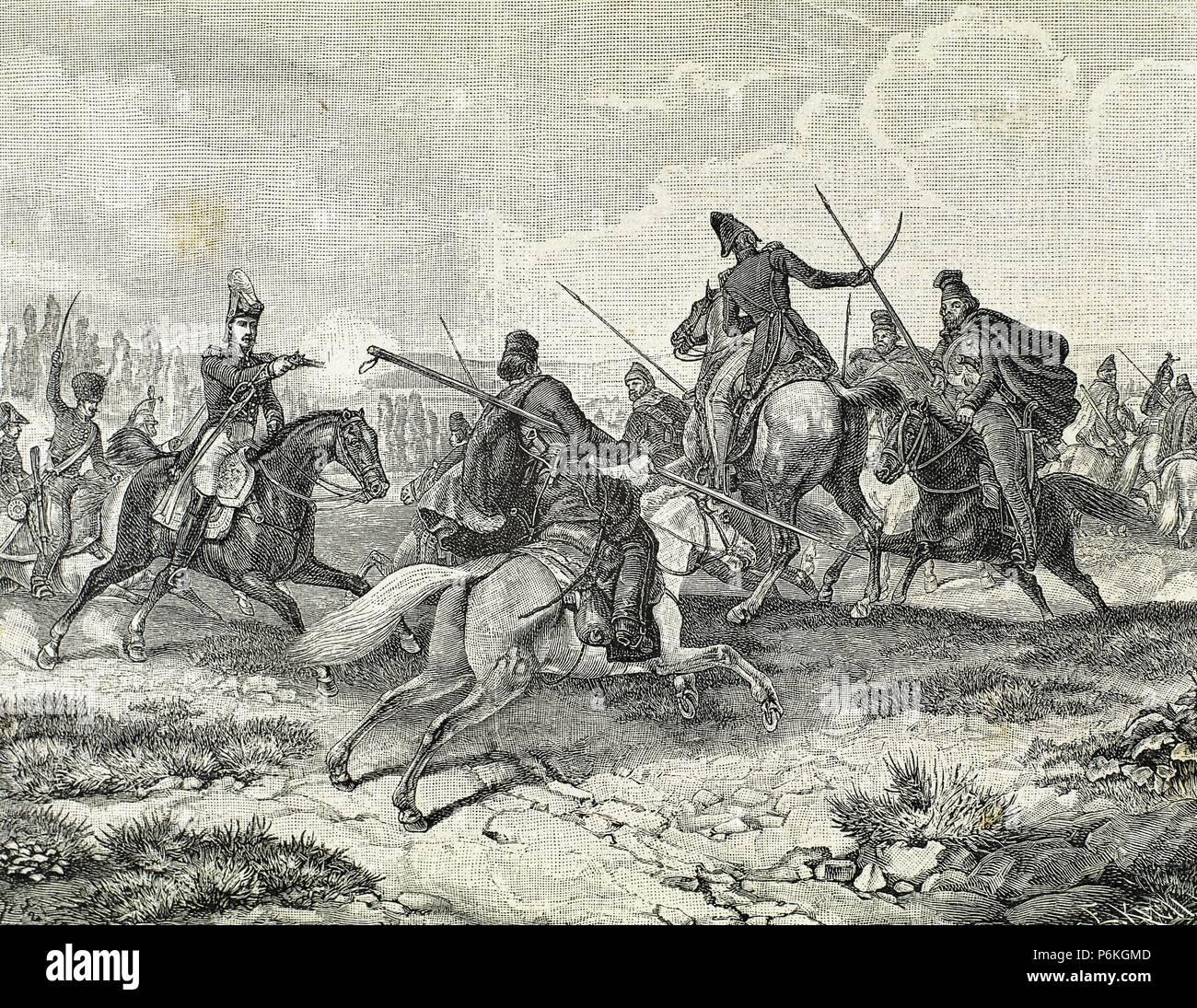 Napoleonische Kriege. Kampf in Russland. Kosaken gegen französische Armee. Kupferstich, 19. Jahrhundert. Stockfoto