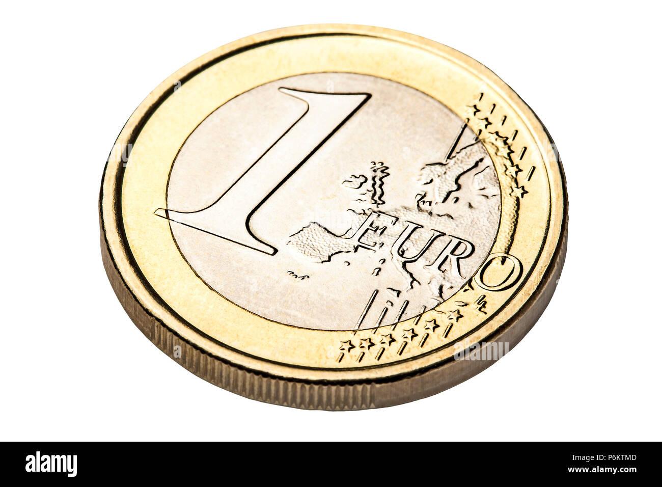Winkel Ansicht Von 1 Euro Münze Isoliert Stockfoto Bild 210648829