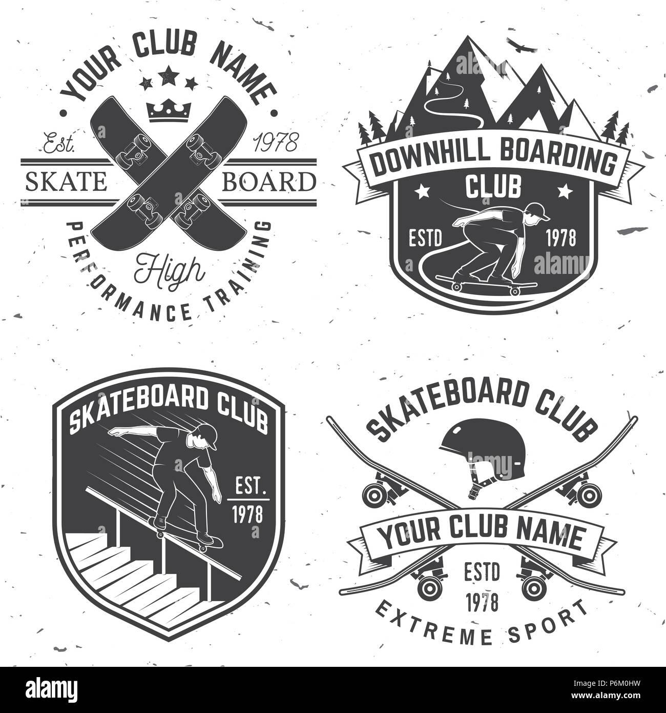 Skate T Shirt Design | Satz Von Skateboard Und Longboard Club Abzeichen Vector