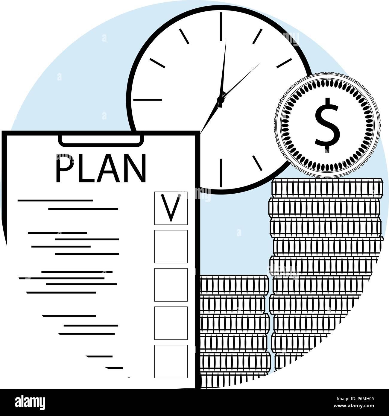 Planen Und Dabei Zeit Und Geld Line Art Symbol Für App Mobile