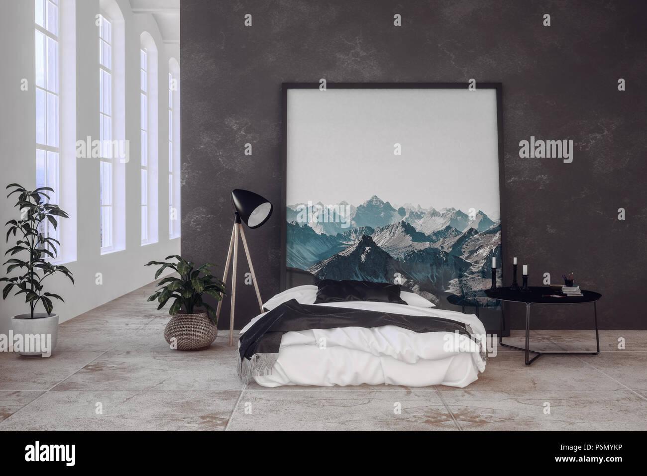 Modernes Schlafzimmer in einem Offenen loft Conversion mit dunklen ...