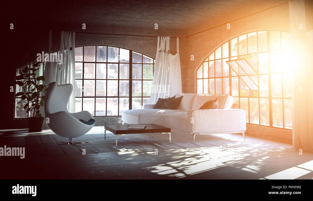 Hellen, Warmen Gemütlichen Wohnzimmer Mit Ambient Sonnenlicht, Das Durch  Die Großen Bogenfenster Auf Einem Sofa Und Clubsessel. 3D Rendering