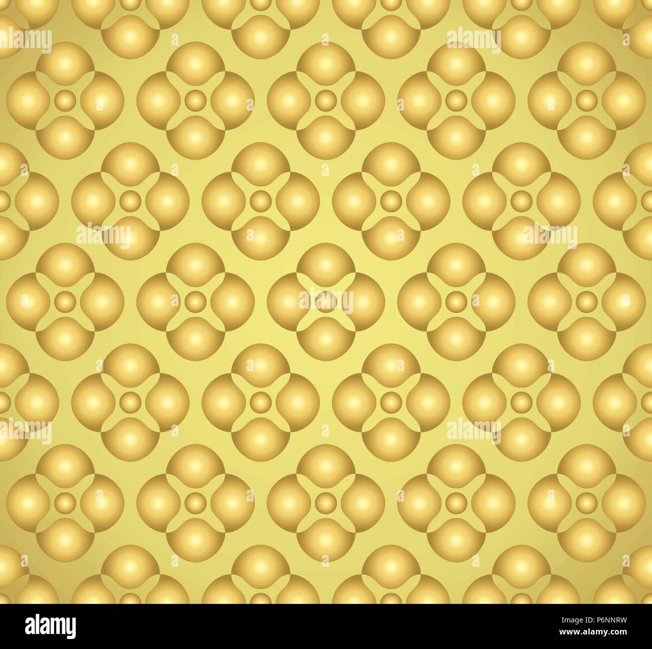 Gold abstrakte Blüten und kleinen Kreis nahtlose Muster auf hellen Hintergrund. Vintage und süßem Blumenmuster für moderne oder Grafik Design. Stockbild