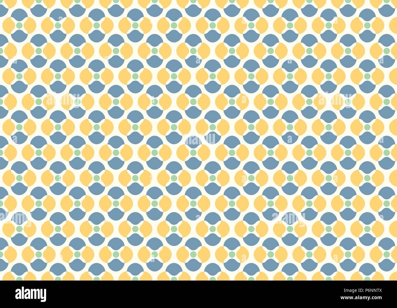 Abstrakte Blüten und kleinen Kreis Musterdesign auf gelben Hintergrund. Vintage und süßen Blumenmuster für Design. Stockbild