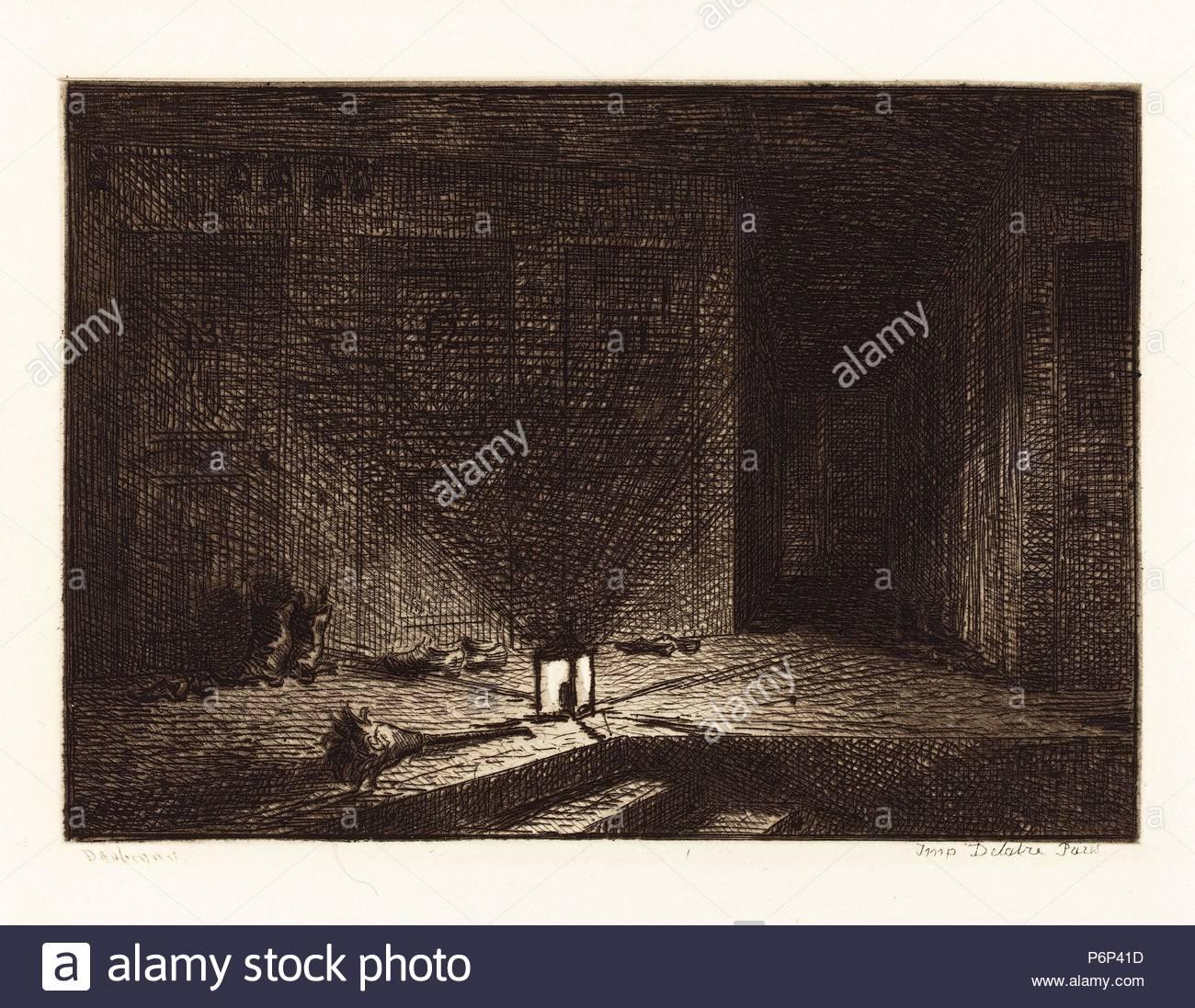 Charles-Fran çois Daubigny (Französisch, 1817-1878), Innenraum eines Inn (Interieur d'une Auberge), 1862, Radierung. Stockbild