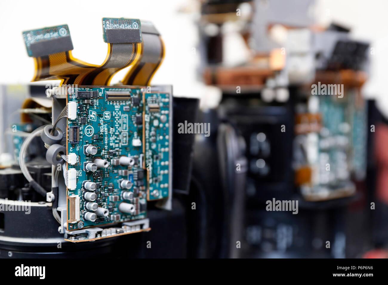 Motherboard, oder die Hauptleiterplatte ein Video Kamera. Close-up. Genf. Die Schweiz. Stockbild