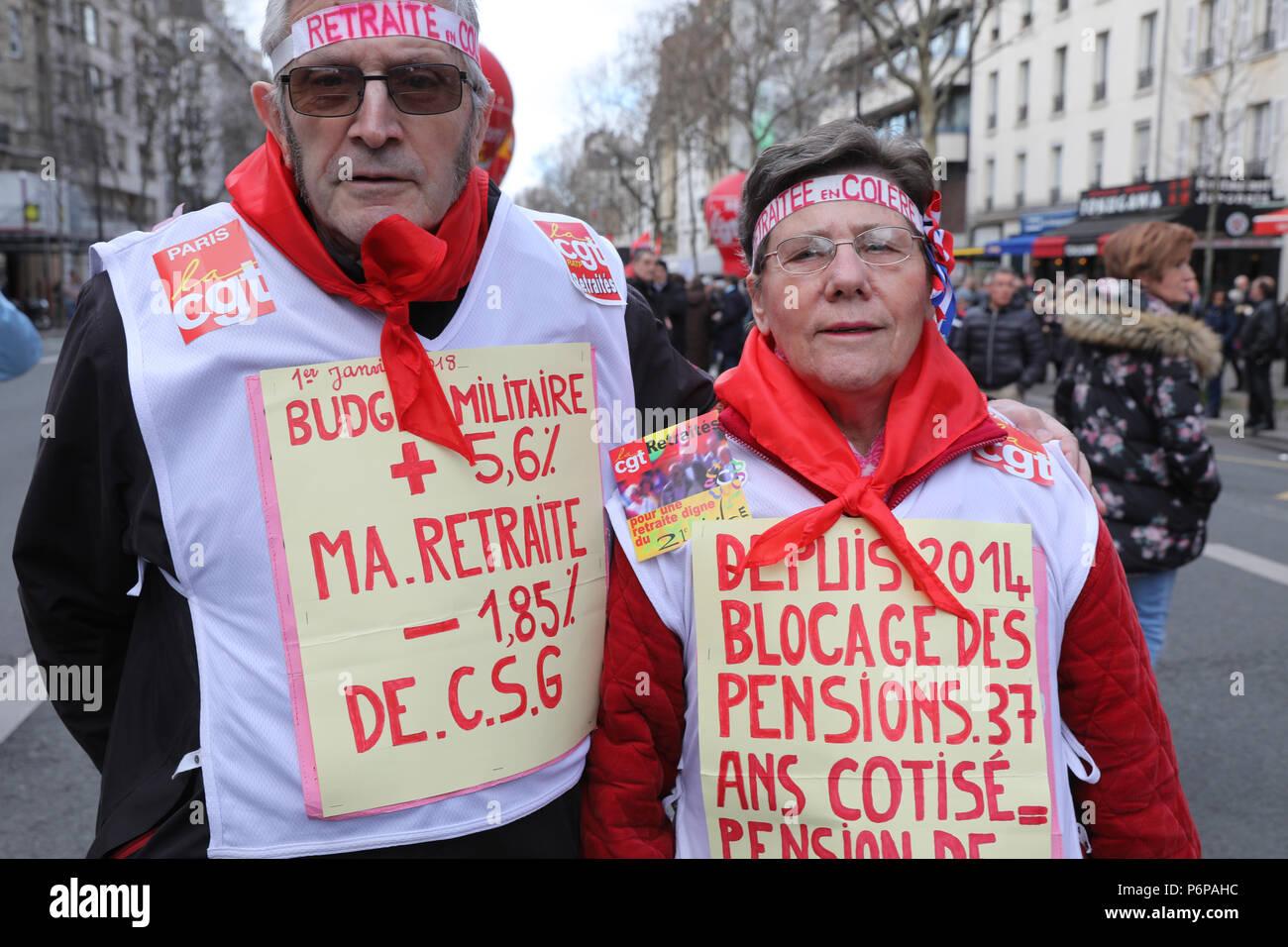 Demonstration Rentner in Paris, Frankreich. Stockbild
