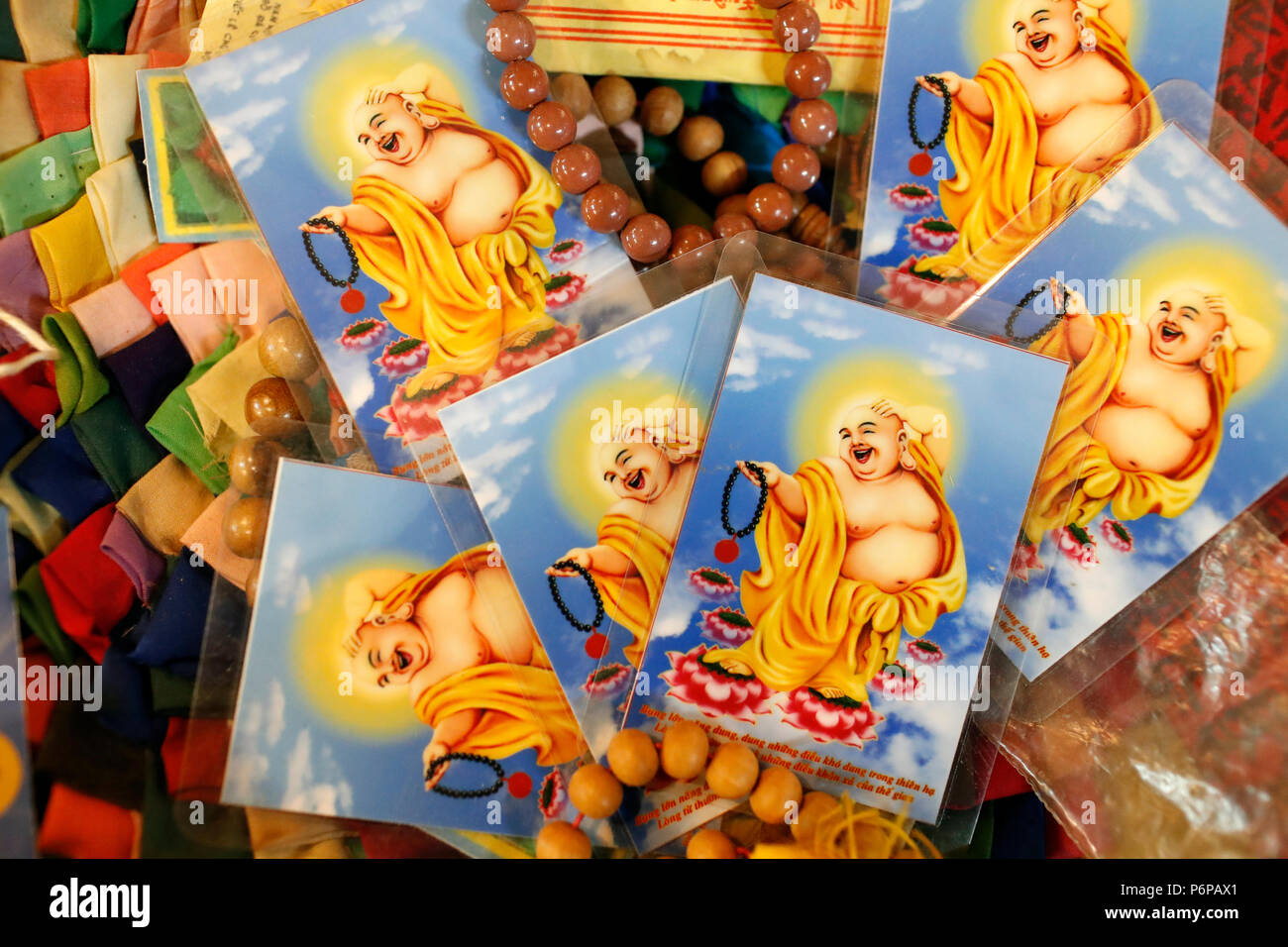 Lachender Buddha Bilder für das chinesische Neujahr. Saint-Pierre en Faucigny. Frankreich. Stockbild