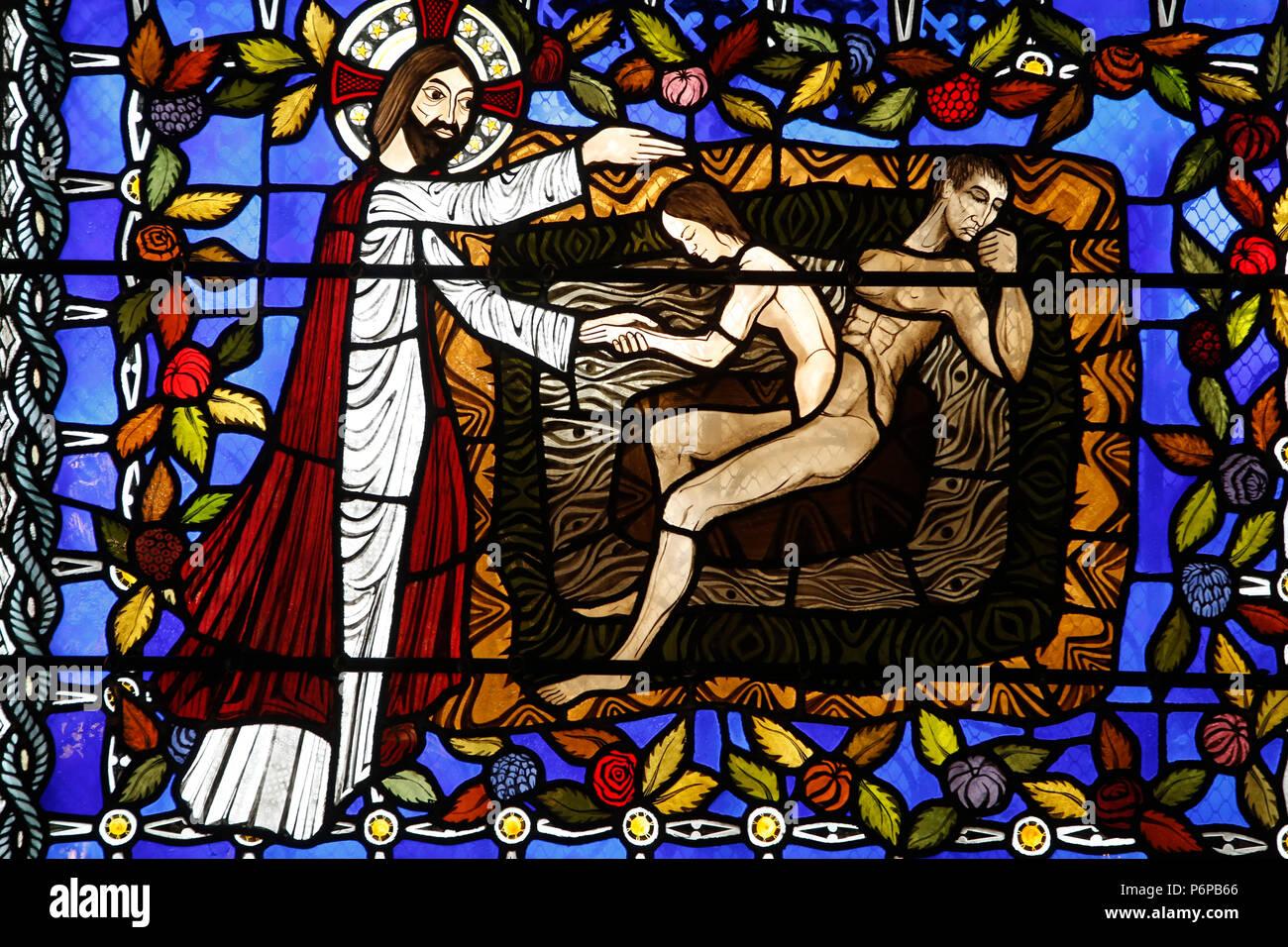 Die Kathedrale Notre Dame de Clermont, Clermont-Ferrand, Frankreich. Glasmalerei. Genesis. Stockbild