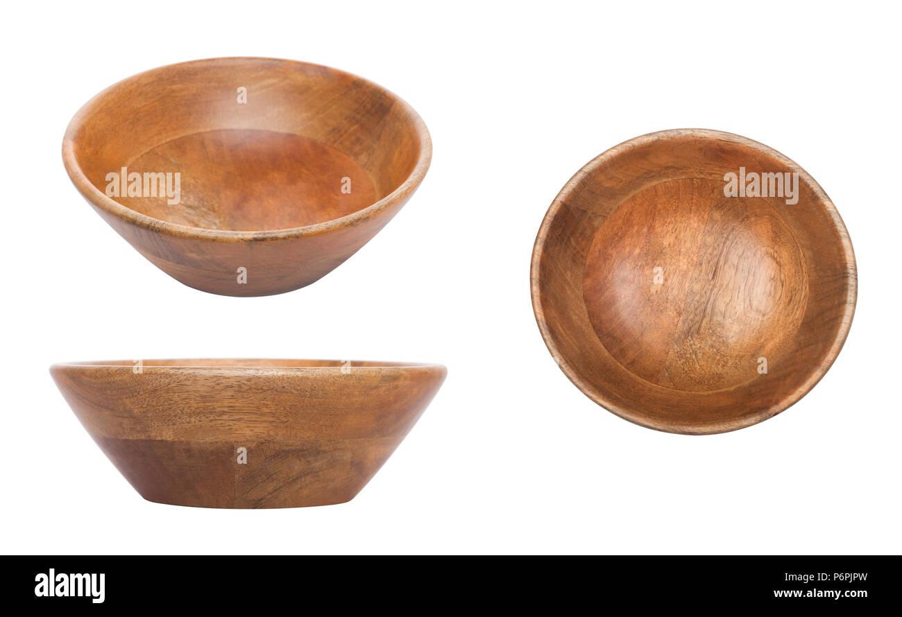 Runde Holz Bambus Schussel Fur Kuche Isoliert Auf Weissem Stockfoto