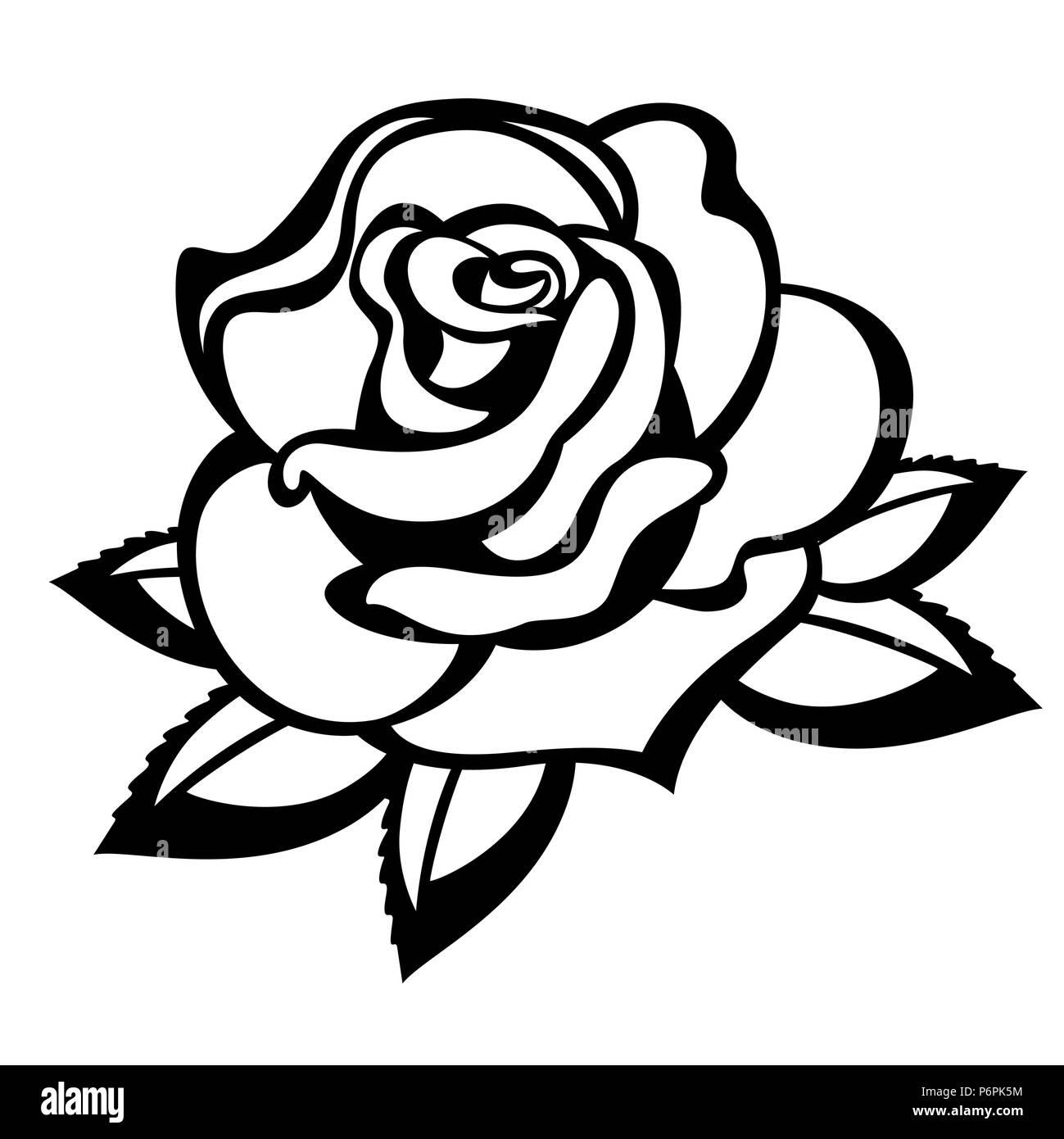 rose auf einem wei en hintergrund schwarz wei vektor abbildung bild 210710352 alamy. Black Bedroom Furniture Sets. Home Design Ideas