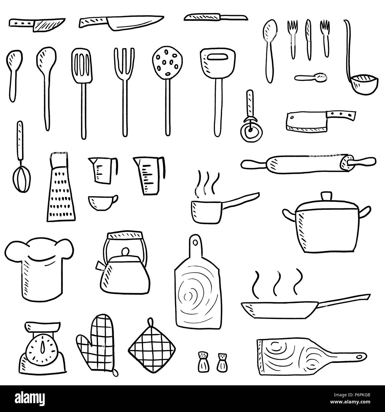 Küchenutensilien Symbole Vektor einrichten. Cute Küchengeräte doodle ...