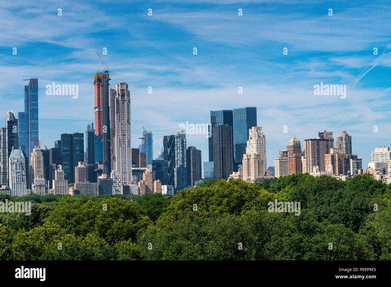 Skyline von New York mit Central Park im Vordergrund, NYC, USA Stockbild