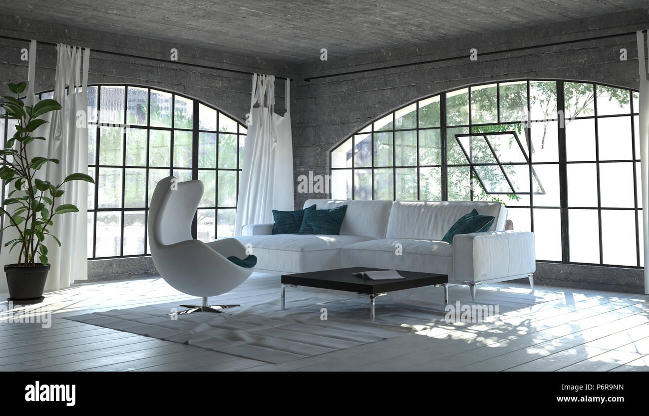Modern einfarbig grau Wohnzimmer Einrichtung mit einem einfachen ...
