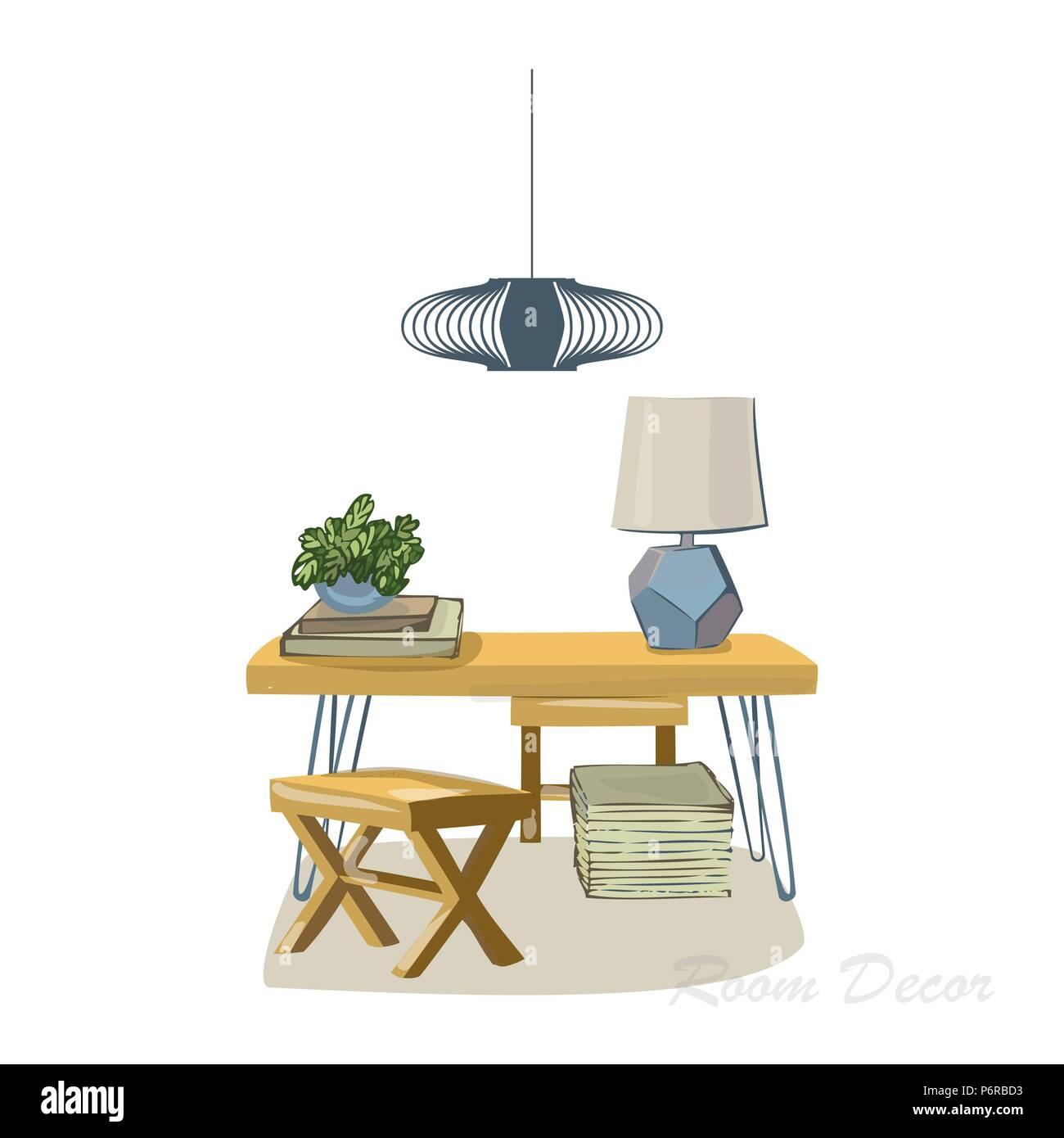 Interior Design Illustration Skizze Flach Moderne Elemente