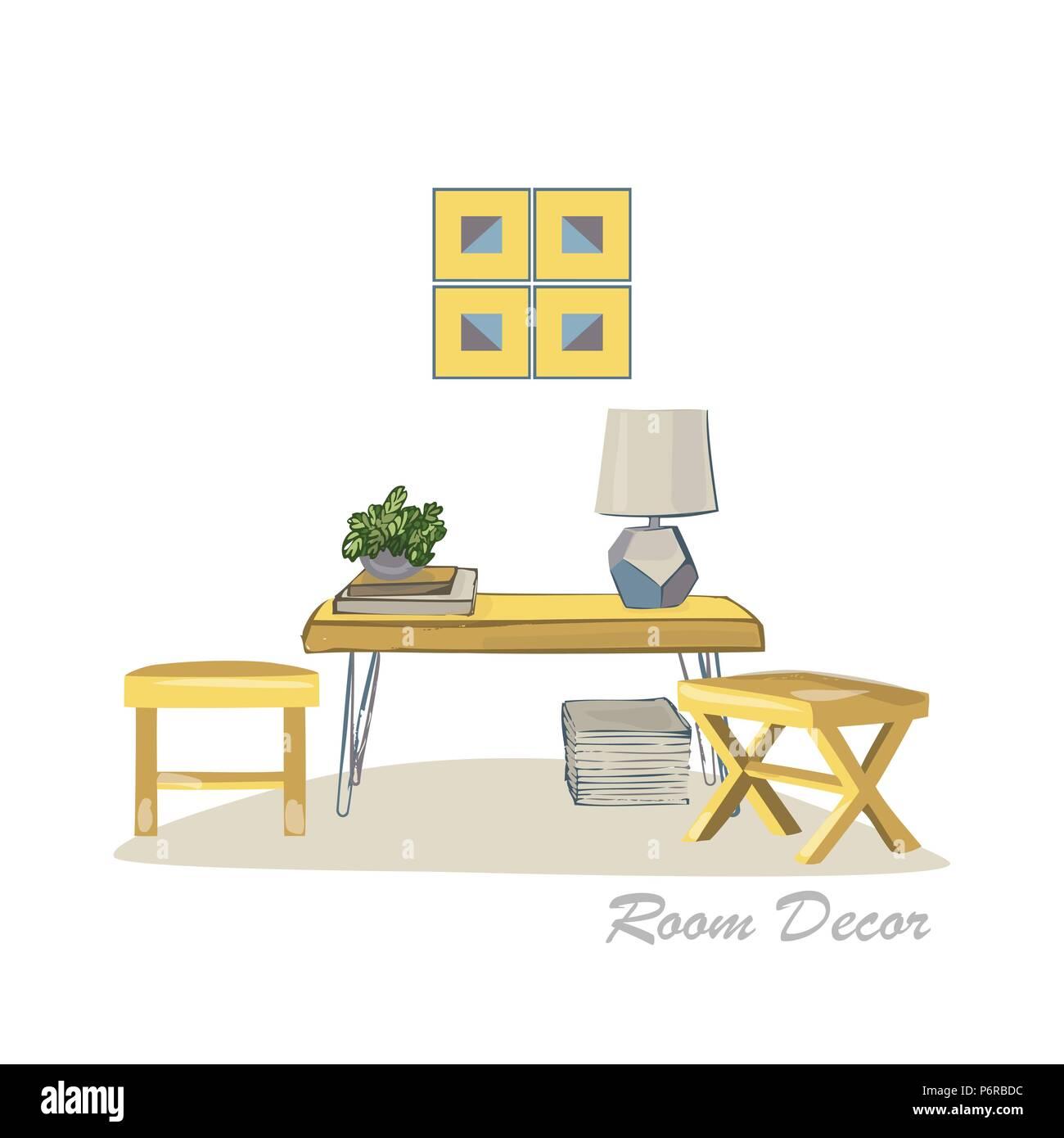 Interior Design Illustration Moderne Elemente Wohnzimmer