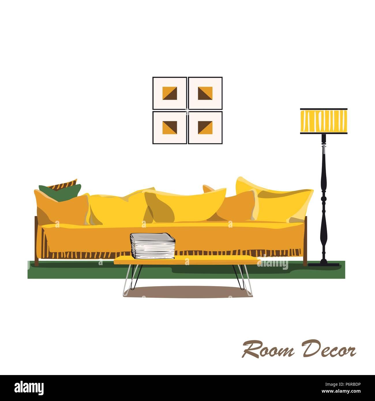 Interior Design Illustration. Modernes Gelbes Wohnzimmer Trendigen Stil.  Home Haus Dekoration. Möbel Lounge. Sofa Kissen Kissen Tabelle/Lampe B