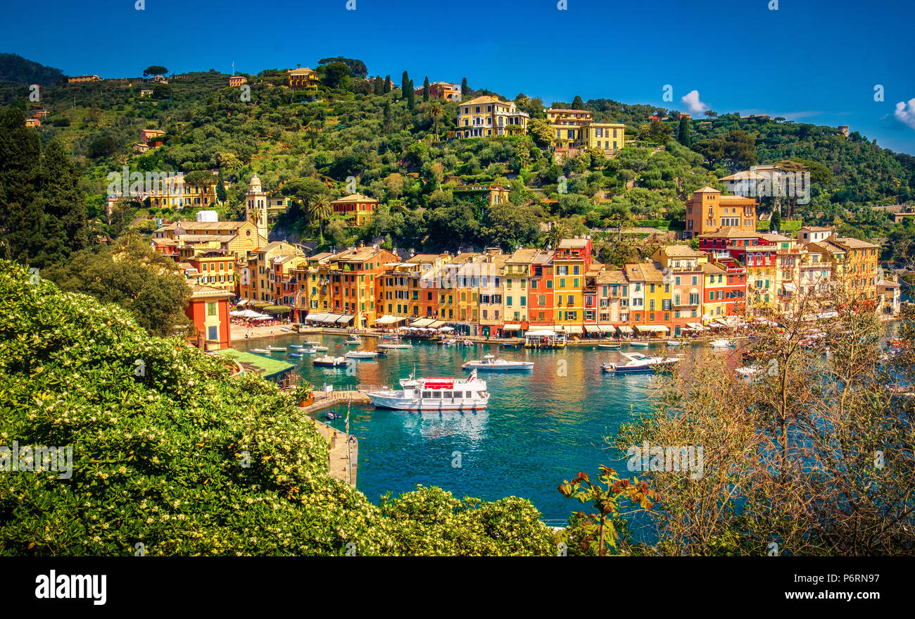 Portofino malerischen Ligurischen bunte Stadt - Genua - Italien Stockbild