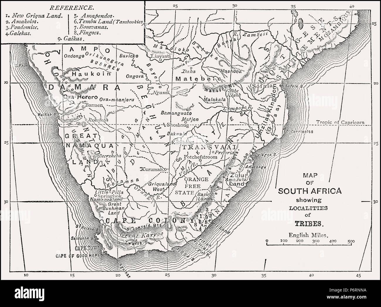 Historische ethnologische Karte von Südafrika, 19. Jahrhundert, die von den Britischen Schlachten auf Land und Meer, von James Grant Stockbild