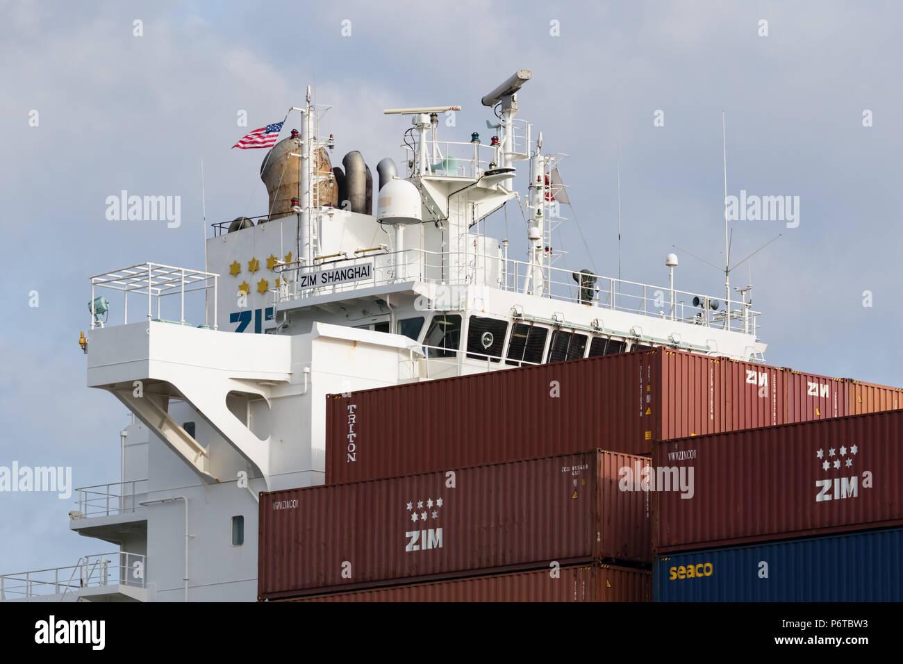 Brücke der Containerschiff Zim Shanghai Stockfoto