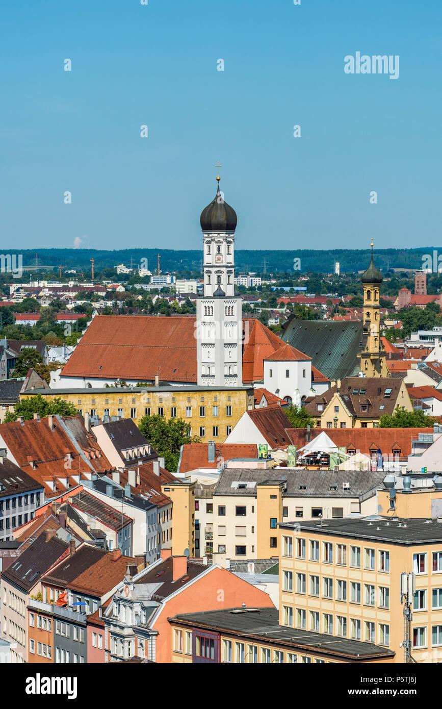 Die Skyline der Stadt Augsburg, Bayern, Deutschland Stockbild
