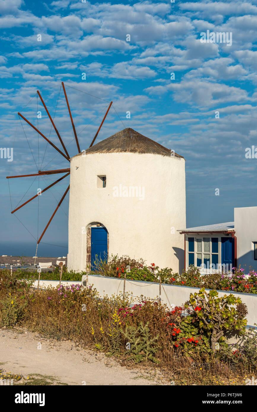 Windmühle, Oia, Santorini, südliche Ägäis, Griechenland Stockbild