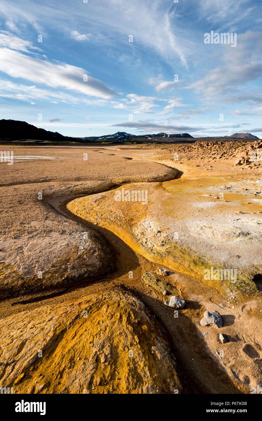 Hverir, Krafla Caldera, Myvatn region, Norden Islands. Geothermische Aktivität. Stockbild