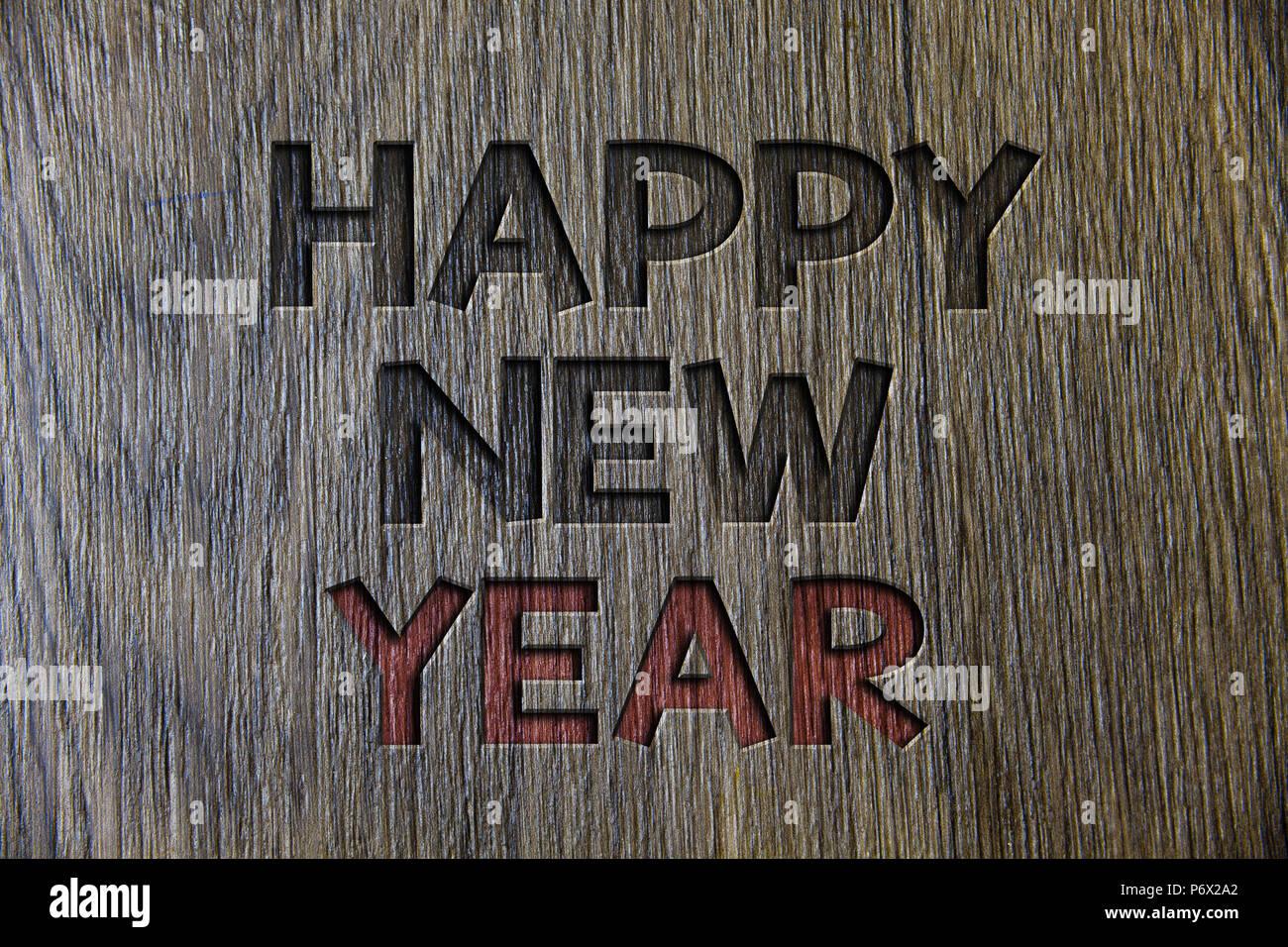 Schreiben Hinweis zeigt ein Frohes Neues Jahr. Business foto ...