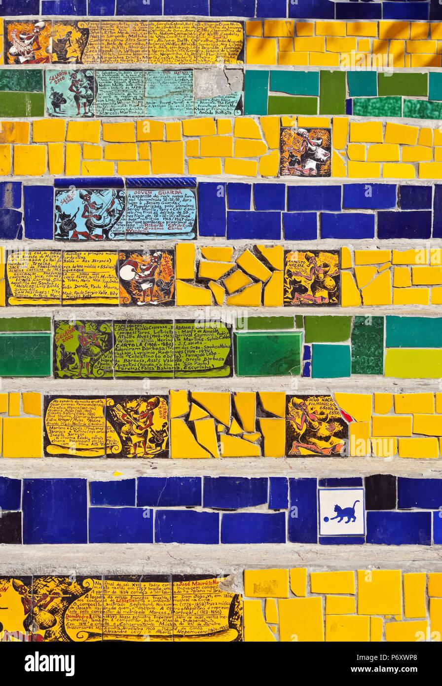 Brasilien, Stadt von Rio De Janeiro, Detailansicht der Selaron Schritte Lapa und Santa Teresa Nachbarschaft verbindet. Stockfoto
