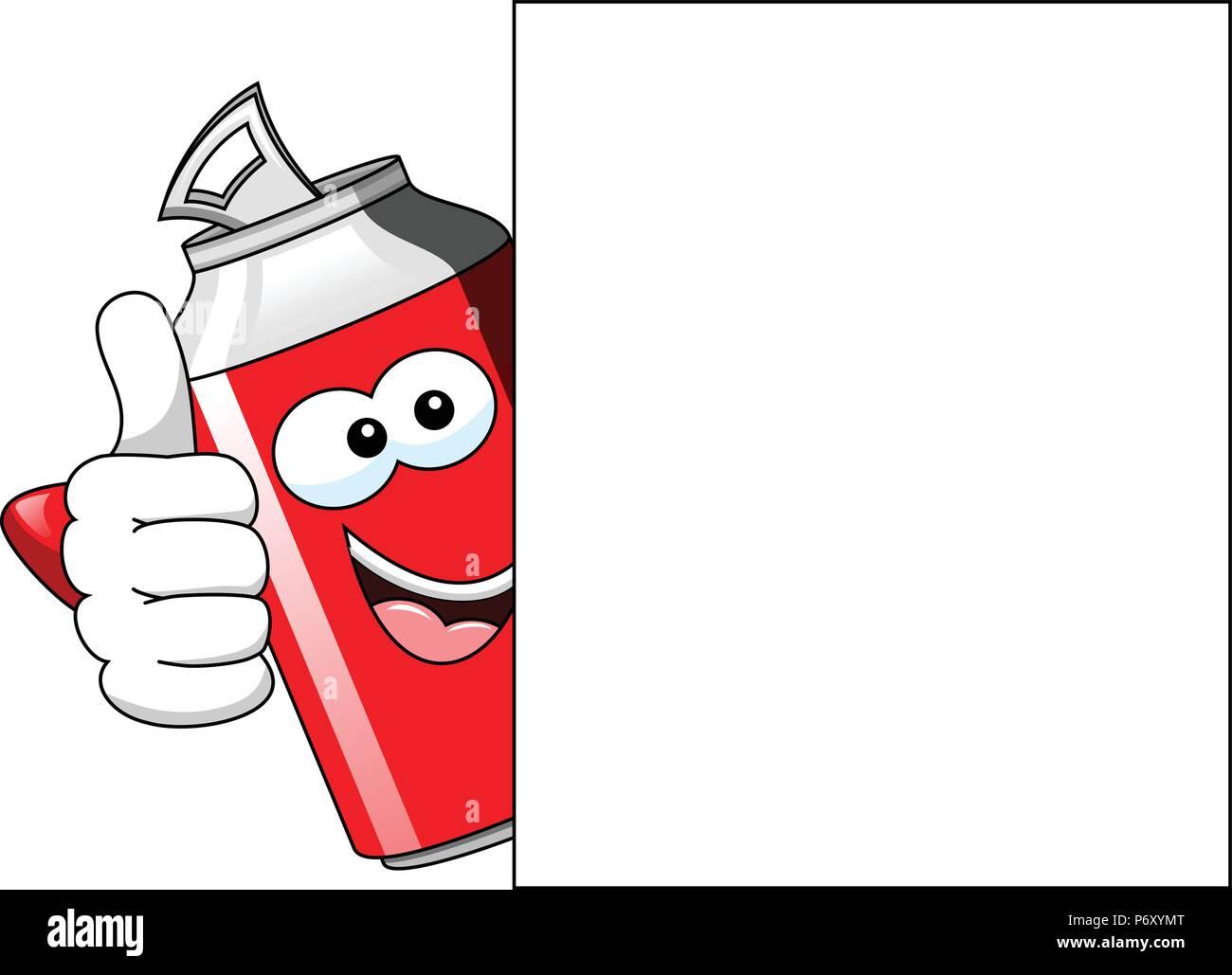 Happy Cartoon kann mit Daumen hoch, hinter blank Billboard isoliert Stockbild