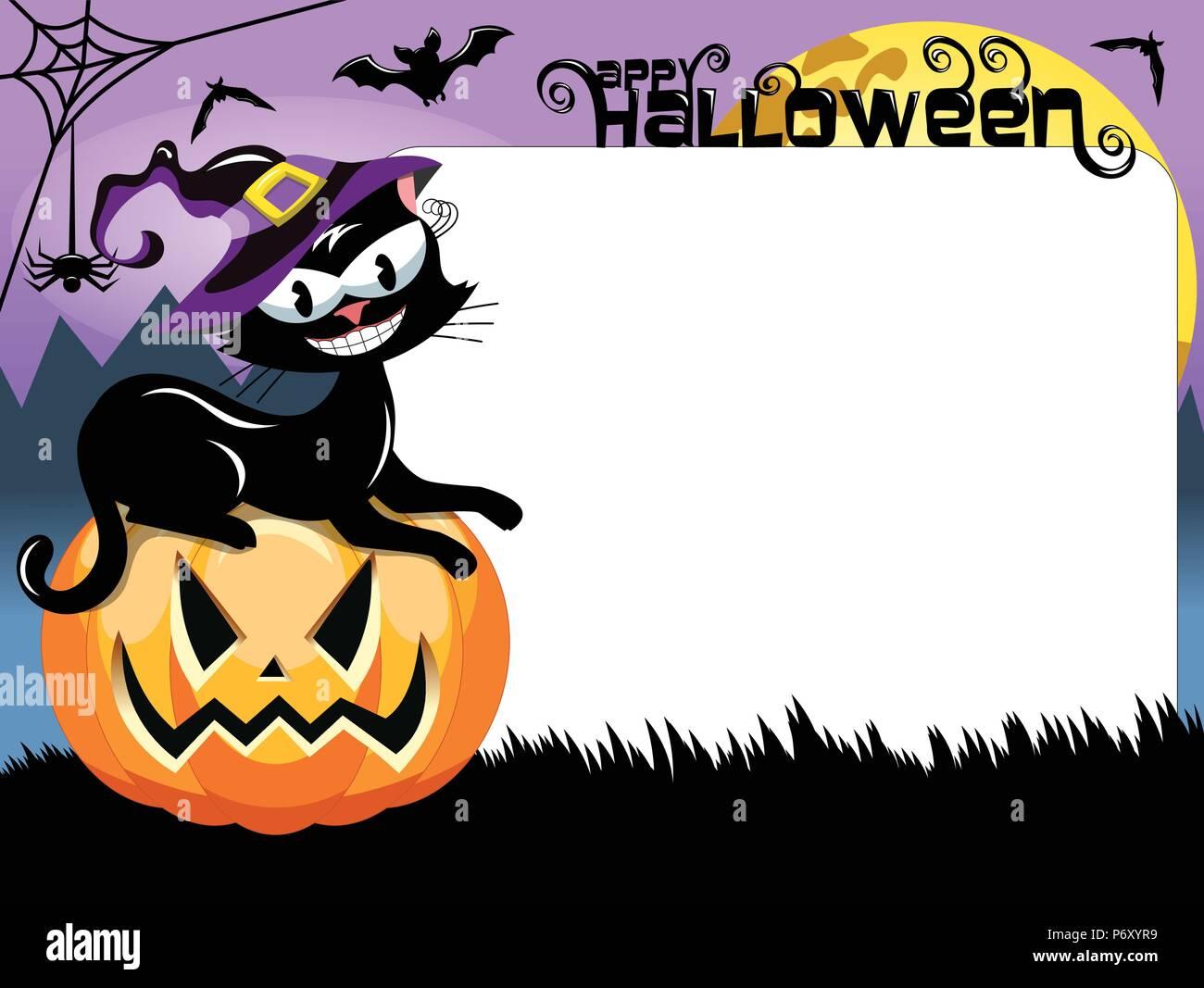 Halloween Schwarze Katze sitzend auf Kürbis und leerer weißer Rahmen Stockbild