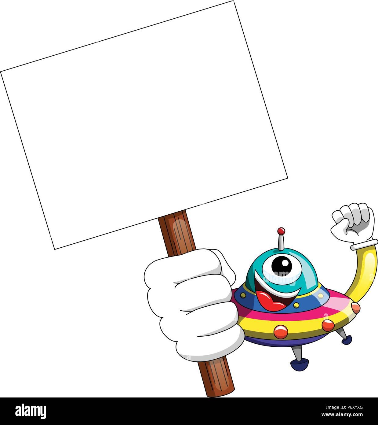 Cartoon alien oder ufo Raumschiff Holding leer Banner isoliert Stockbild
