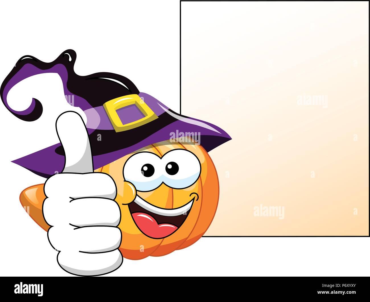 Halloween Kürbis Cartoon Daumen hoch leer Banner isoliert Stockbild