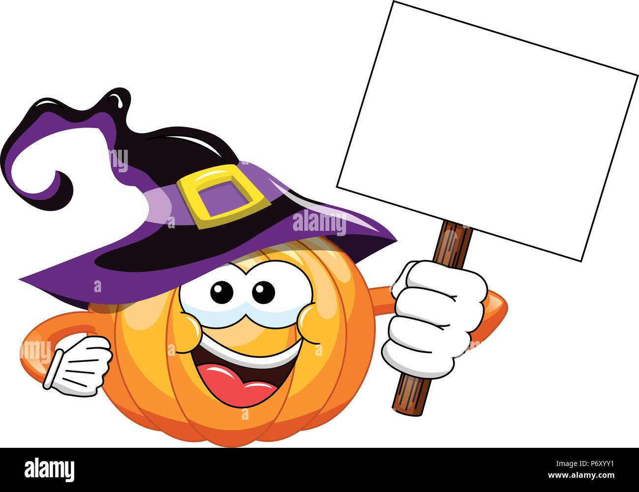 Halloween Kürbis Cartoon Holding leer Banner isoliert Stockbild
