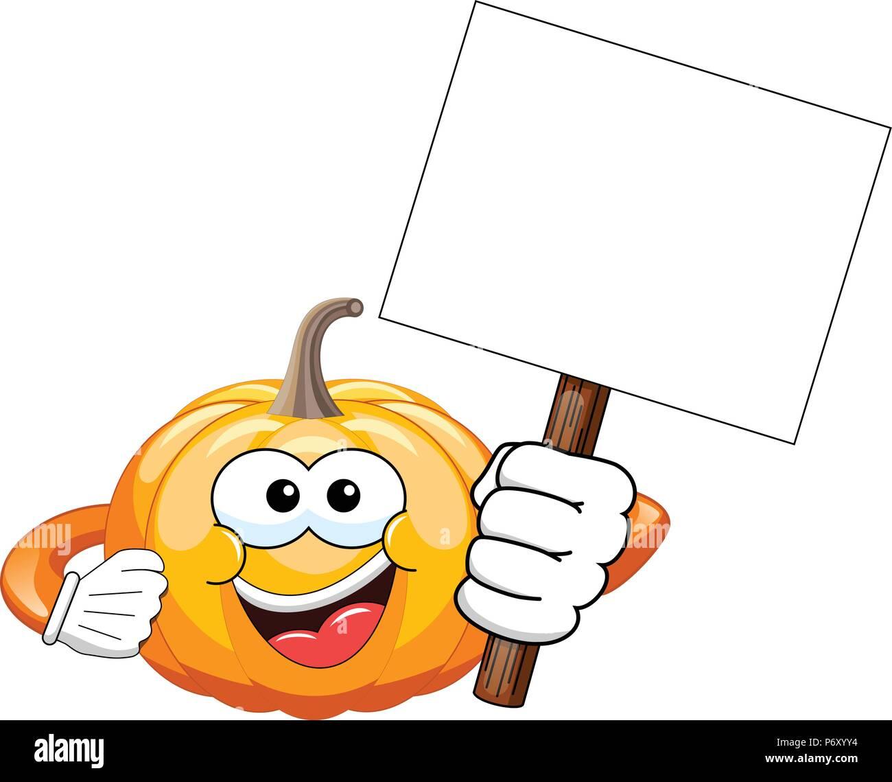 Cartoon Kürbis Holding leer Banner isoliert Stockbild
