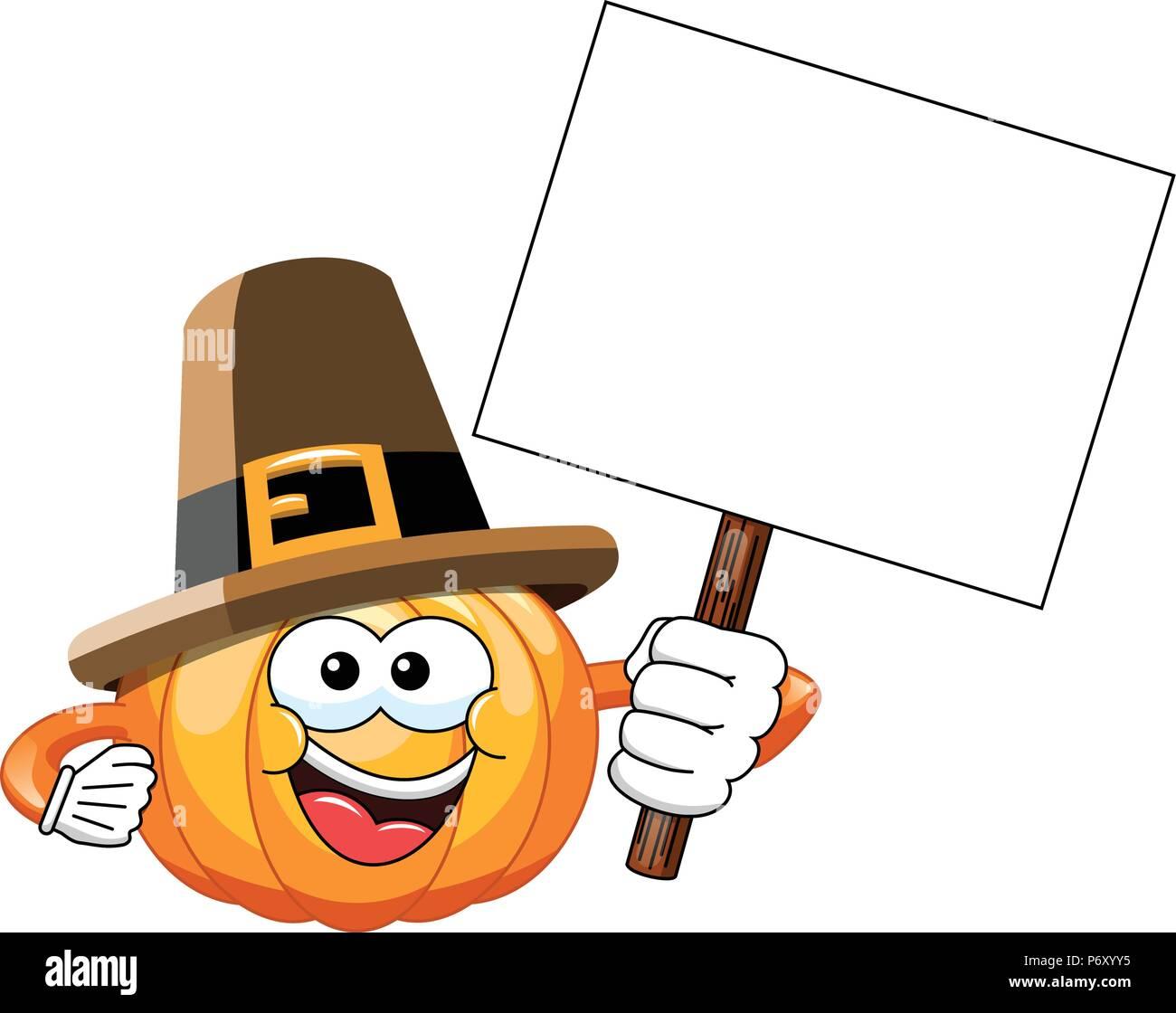 Pilgrim Cartoon Kürbis Holding leer Banner isoliert Stockbild