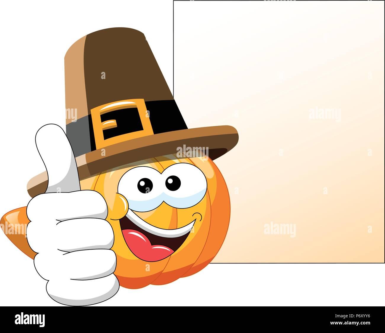 Pilgrim Cartoon Kürbis mit Daumen nach oben Nächste leere Banner isoliert Stockbild