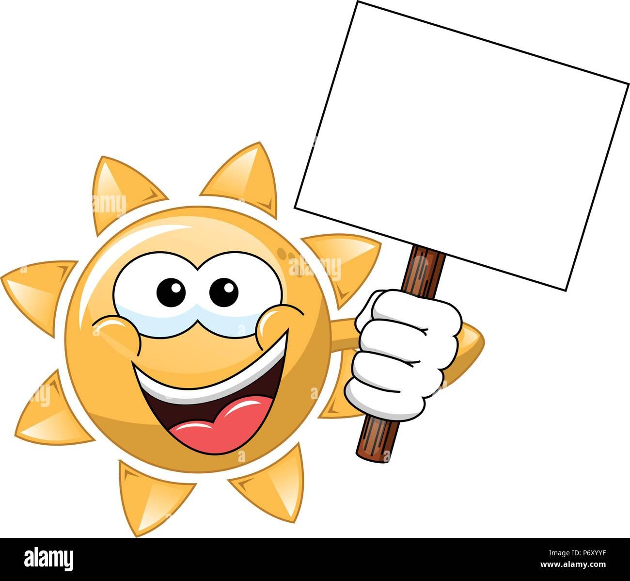Cartoon sun Holding leer Banner isoliert Stockbild
