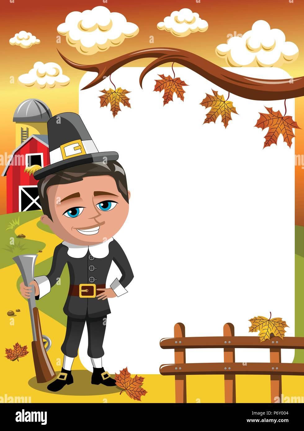Thanksgiving Day senkrechten Rahmen pilgrim Jäger mit Gewehr posing Stockbild