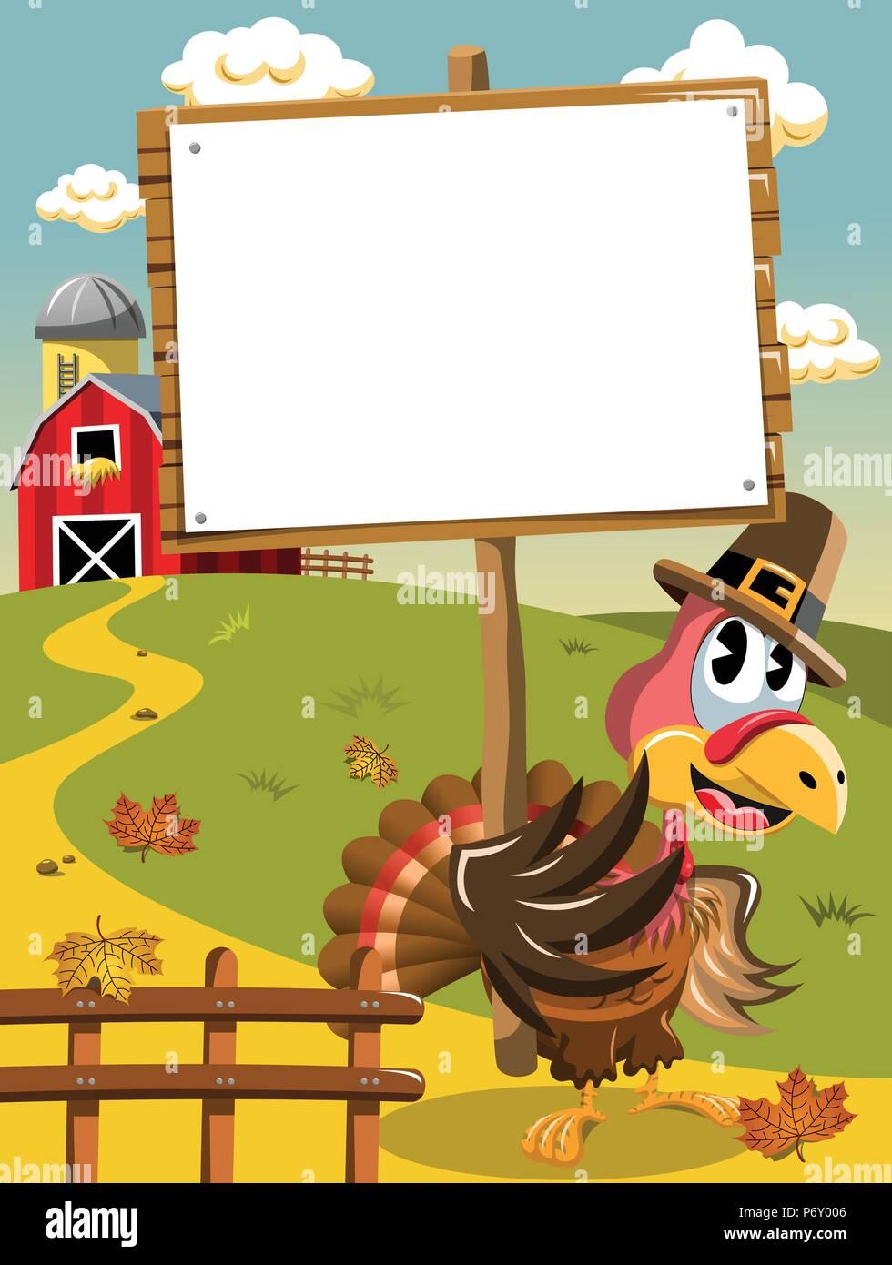 Thanksgiving Day pilgrim Türkei Holding leer Holz- Banner Stockbild