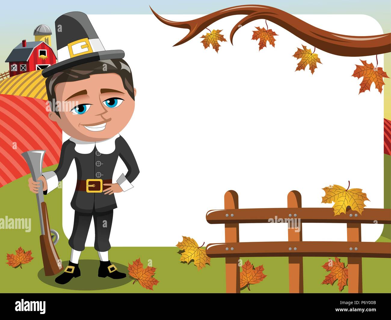 Thanksgiving Day horizontalen Rahmen pilgrim Jäger mit Gewehr posing Stockbild