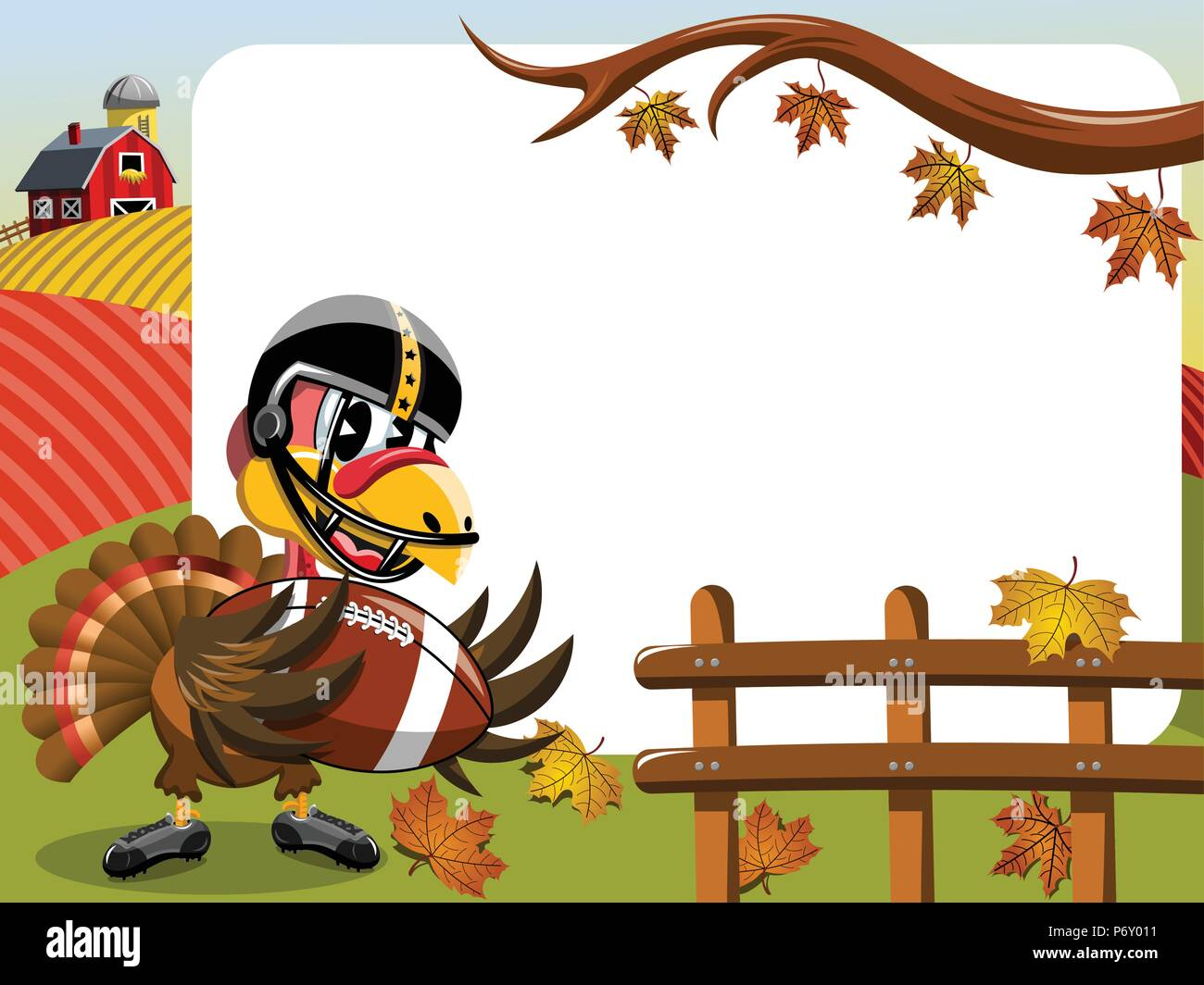 Thanksgiving Day horizontalen Rahmen mit der Türkei spielen American Football Stockbild
