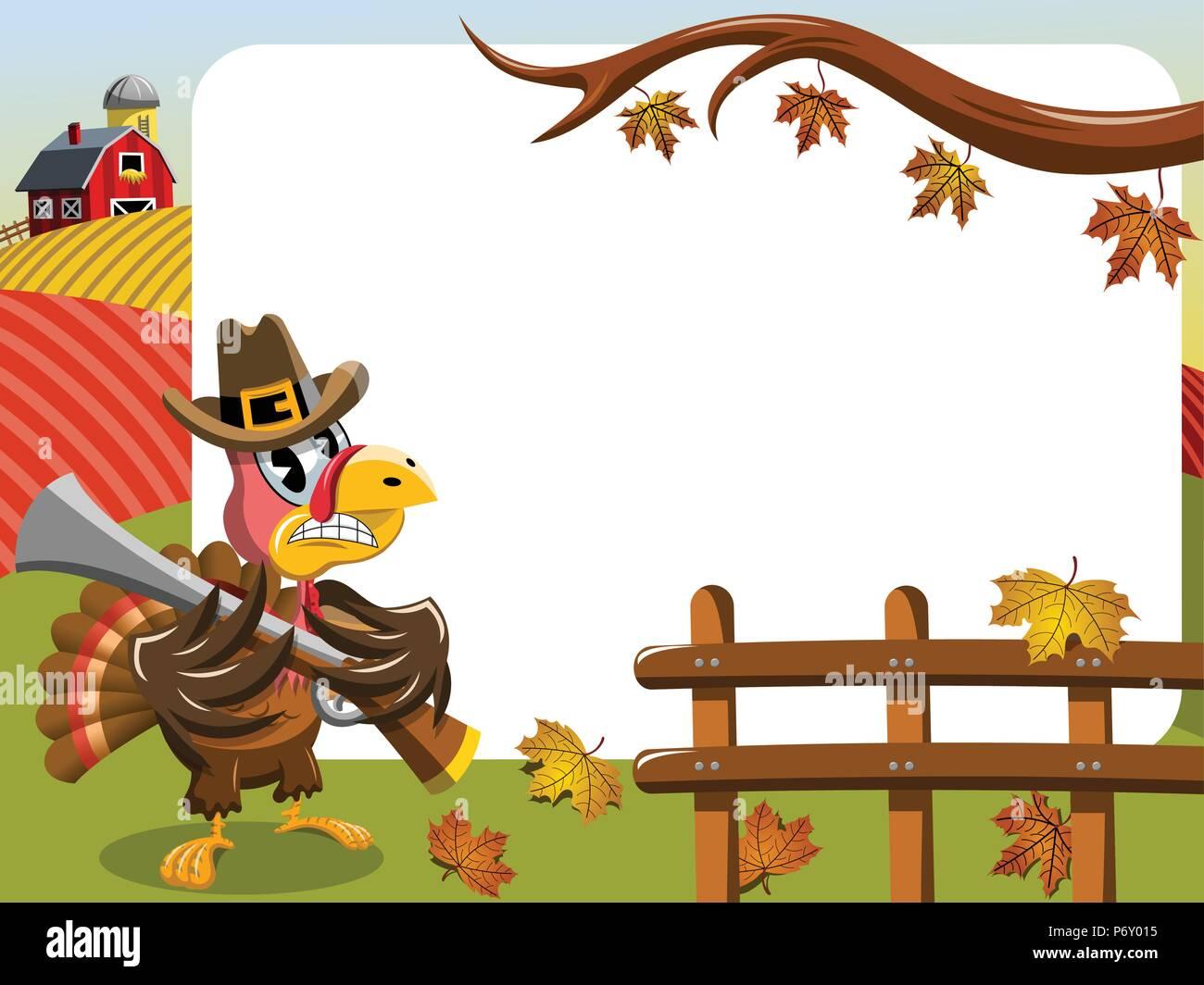 Thanksgiving Day horizontalen Rahmen mit Pilgrim verärgert Türkei holding Gewehr outdoor Stockbild
